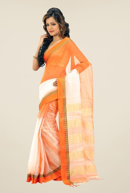 Bengal Handloom Orange & White Hawai Mithai Silk Saree