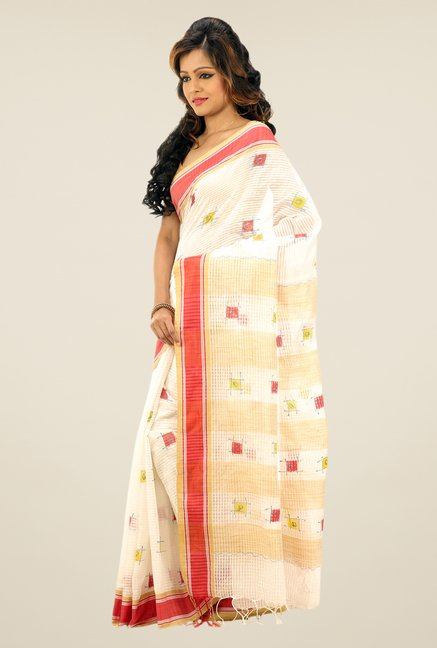 Bengal Handloom Off-white Printed Net Saree