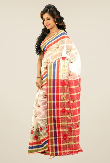 Bengal Handloom White Checked Applic Cotton Silk Saree