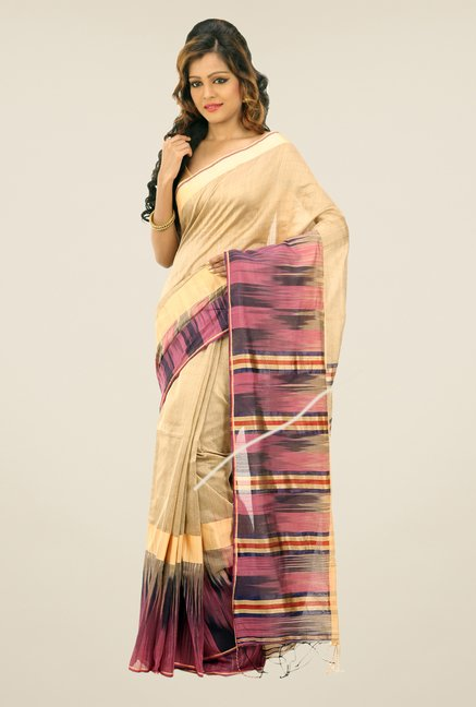 Bengal Handloom Beige Kotki Cotton Silk Saree