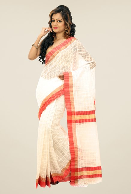 Bengal Handloom White Net Cotton Silk Saree