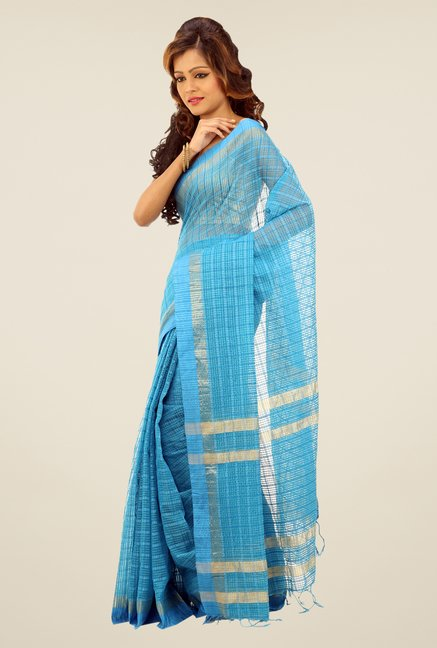 Bengal Handloom Sky Blue Net Cotton Silk Saree