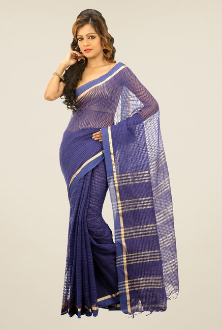 Bengal Handloom Navy Net Cotton Silk Saree