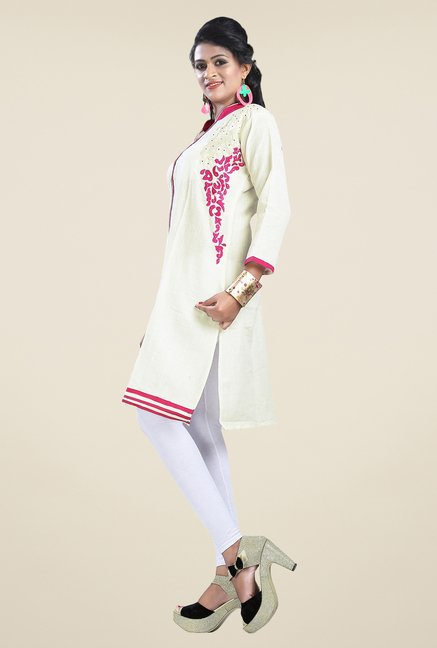 Triveni Cream Embroidered Kurta
