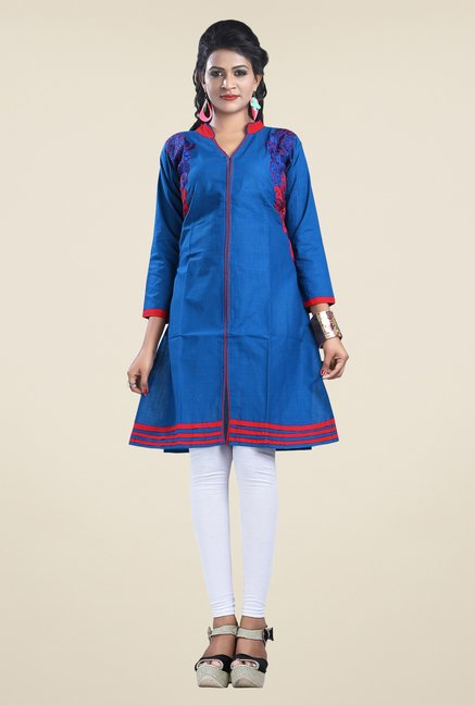 Triveni Blue Embroidered Kurta