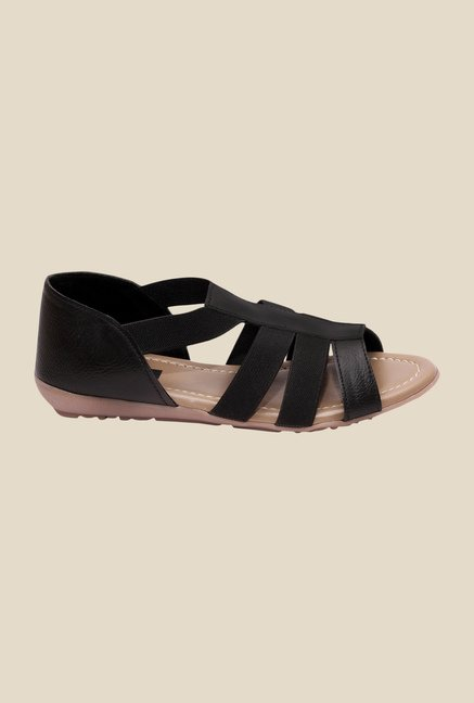 Global Step Black Flat Sandals