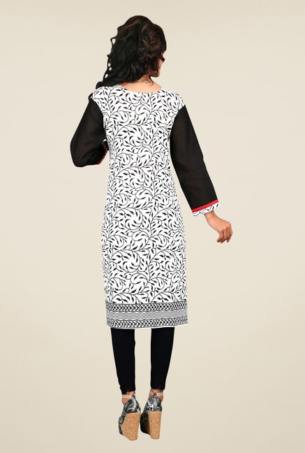 Triveni Off White Printed Cotton Kurta