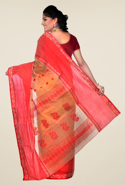 Bengal Handloom Beige & Coral Printed Cotton Saree