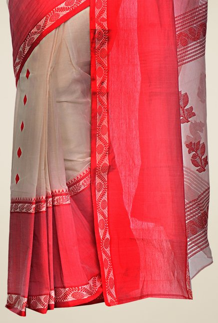 Bengal Handloom Beige & Red Printed Cotton Saree