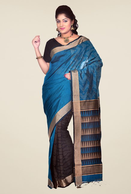 Bengal Handloom Black & Blue Cotton Silk Printed Saree
