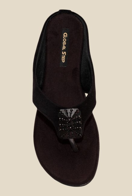Global Step Black Wedge Heeled Thong Sandals