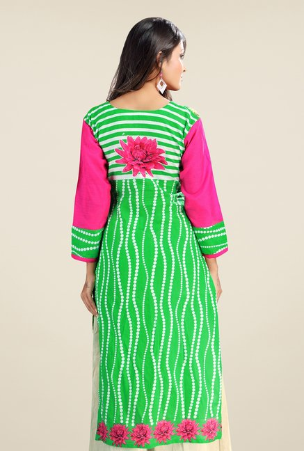 Triveni Green Floral Printed Cotton Kurta