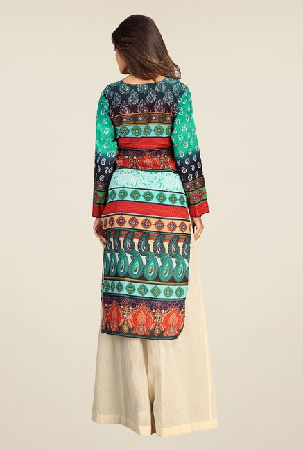 Triveni Multicolor Printed Cotton Kurta