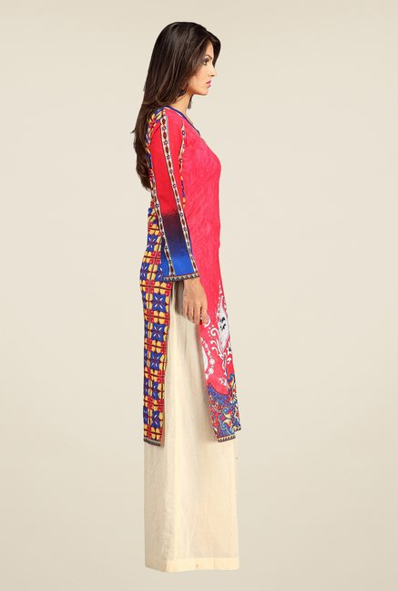 Triveni Pink Printed Cotton Kurta