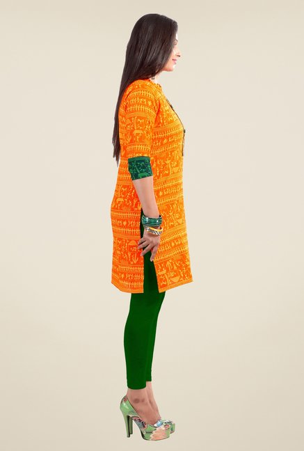 Triveni Orange Printed Kurta