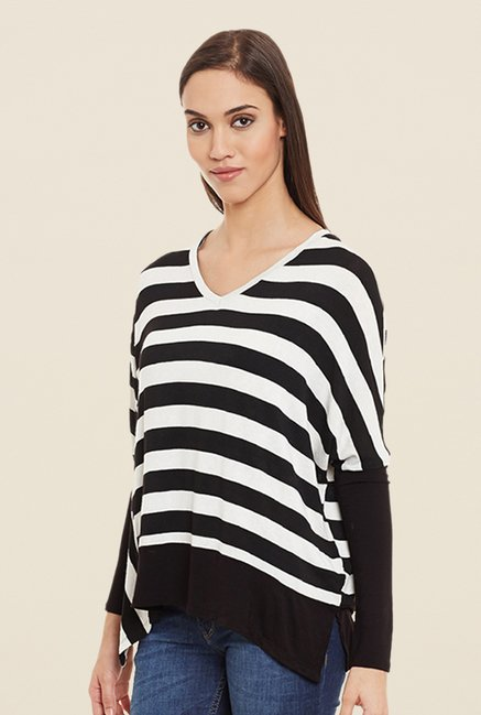Femella Black & White Striped Top