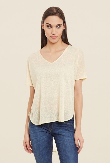 Femella Beige High Low Textured Top