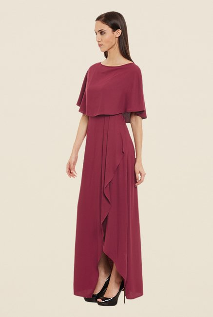 Femella Maroon Front Slit Dress