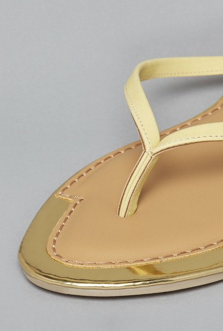 Head Over Heels by Westside Yellow & Tan Flat Sandals