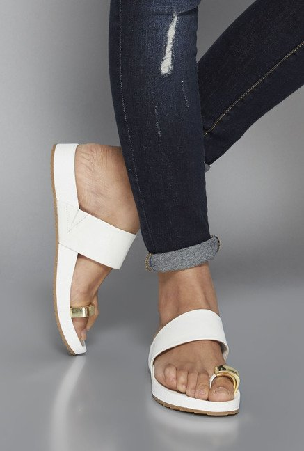 Head Over Heels by Westside White Toe Ring Sandals