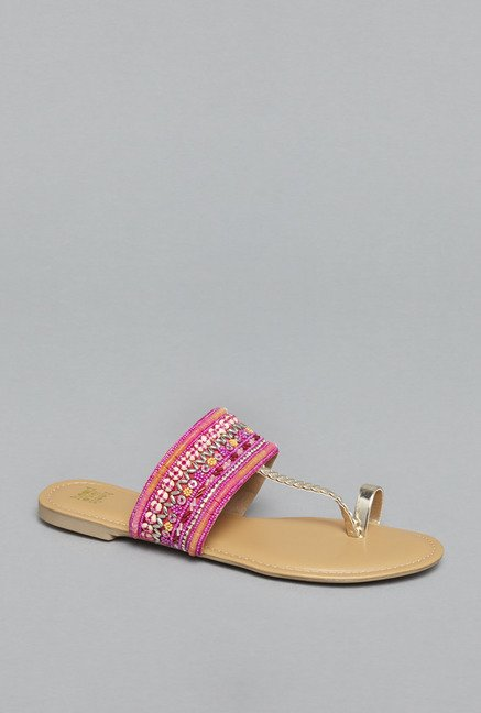 Head Over Heels by Westside Fuchsia Flat Sandals