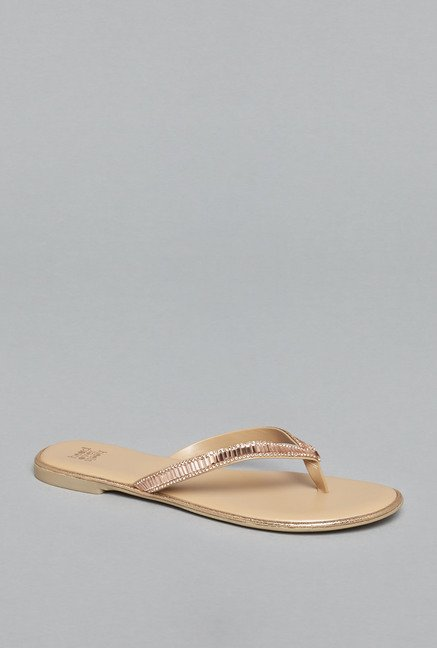 Head Over Heels by Westside Rose Gold Flat Sandals