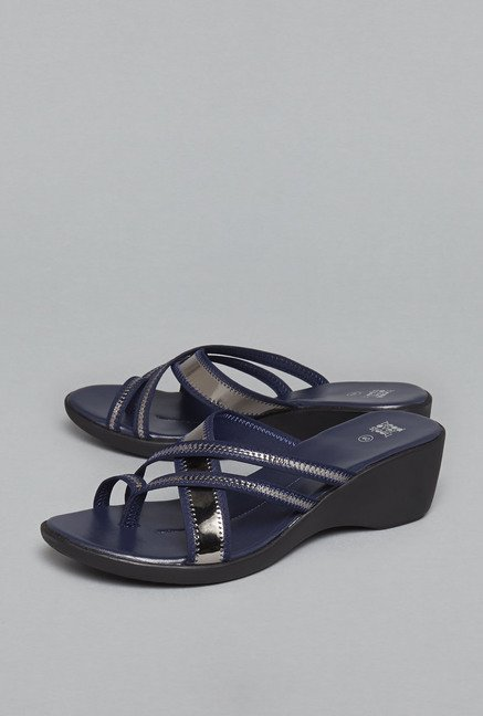 Head Over Heels by Westside Navy Wedge Sandals