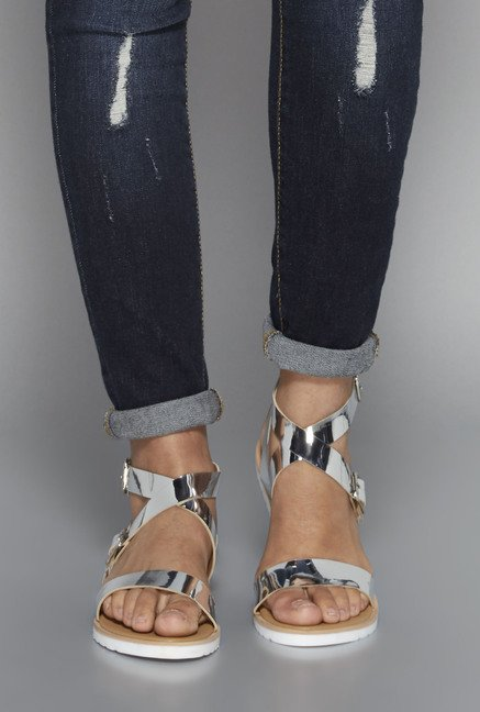 Head Over Heels by Westside Silver & Tan Flat Sandals