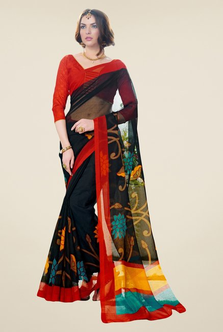 Triveni Black Printed Supernet Saree