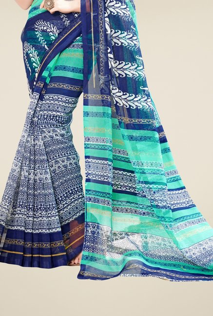 Triveni Navy Printed Supernet Saree