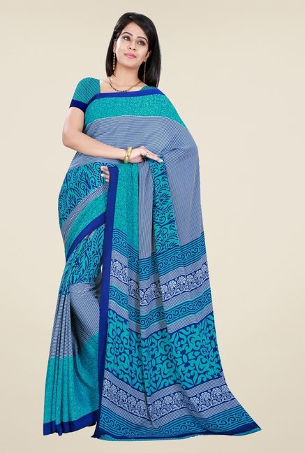 Triveni Teal & Blue Printed Crepe Saree