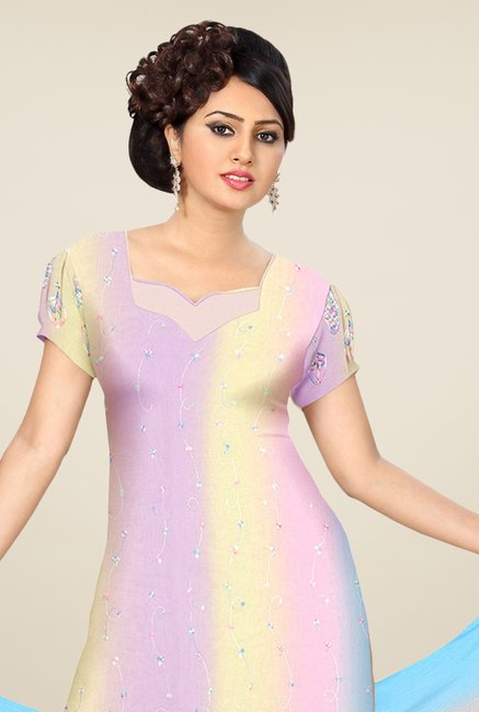 Triveni Multicolor Embroidered Dress Material