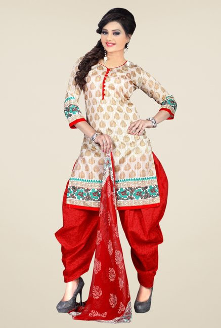 Triveni Beige & Red Block Print Dress Material