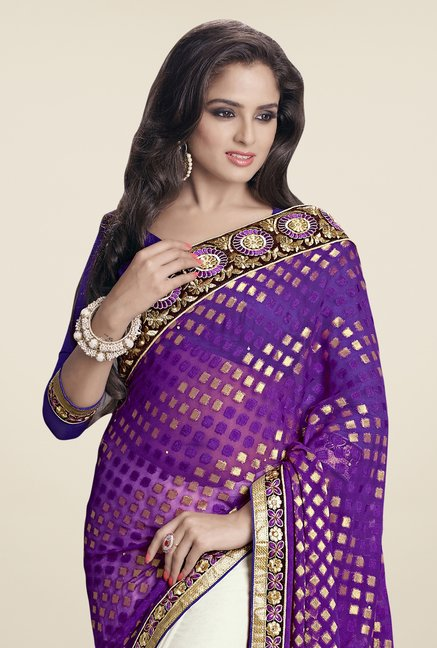Triveni Off White & Purple Embroidered Saree