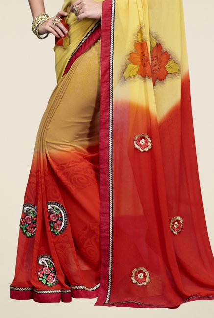 Triveni Yellow & Red Printed Faux Georgette Saree
