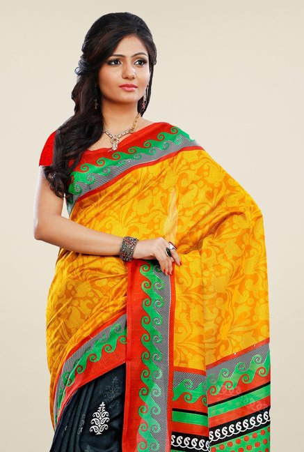 Triveni Black & Yellow Printed Art Silk Saree