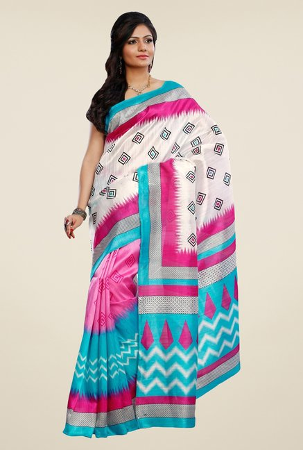 Triveni Pink & Blue Printed Art Silk Saree