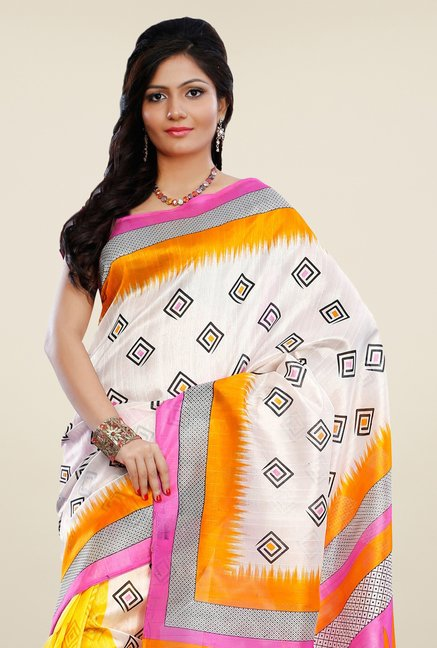 Triveni Yellow & Pink Printed Art Silk Saree