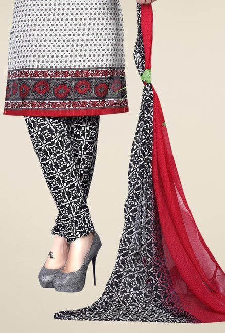 Triveni White & Black Printed Dress Material