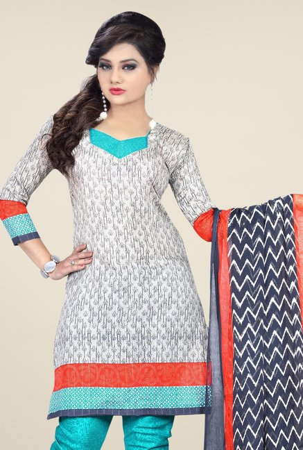 Triveni White & Turquoise Printed Dress Material