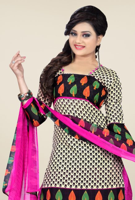 Triveni Beige & Pink Printed Dress Material