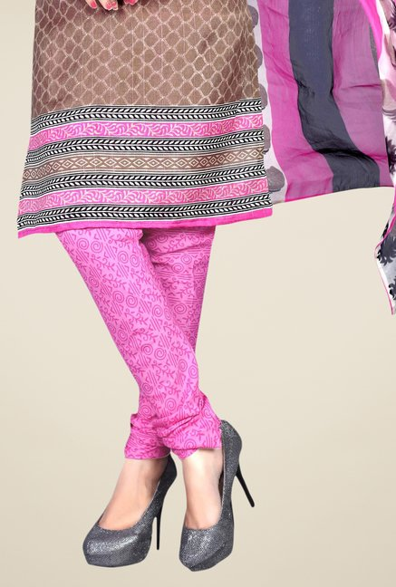 Triveni Brown & Pink Printed Dress Material