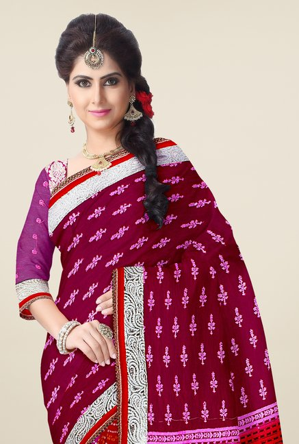 Triveni Purple & Red Bandhani Faux Georgette Saree