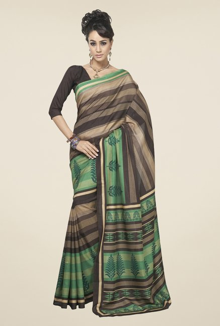 Triveni Brown & Green Printed Art Silk Saree