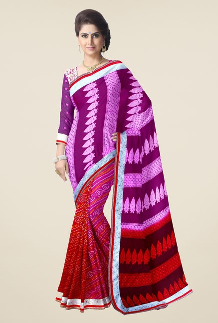 Triveni Red & Purple Bandhani Faux Georgette Saree