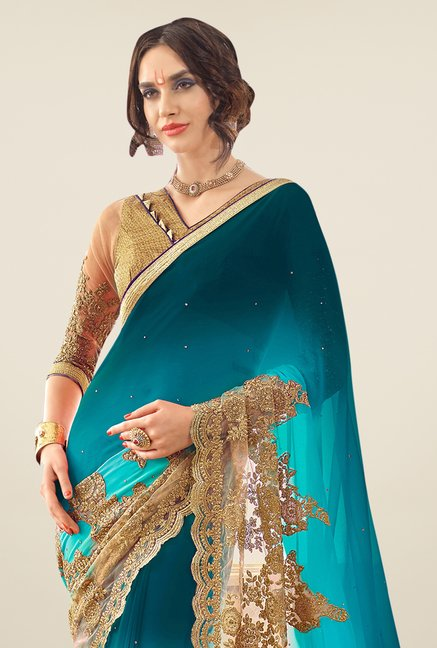 Triveni Teal Embroidered Faux Georgette Saree
