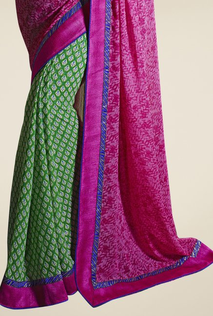 Triveni Green & Pink Printed Faux Georgette Saree