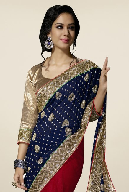 Triveni Maroon & Navy Embroidered Viscose Saree