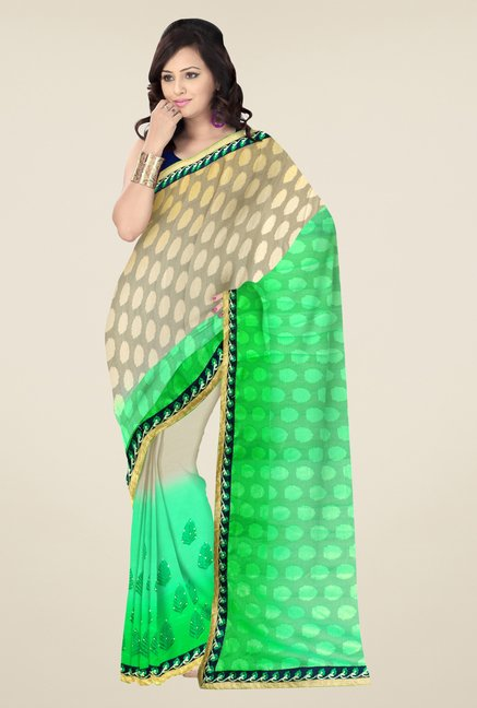 Triveni Green & Beige Embroidered Faux Georgette Saree