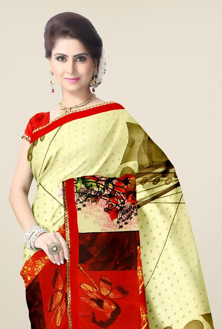 Triveni Olive & Red Printed Faux Georgette Saree